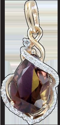 Ювелирные украшения из аметрина  Высококачественные боливийские аметрины с насыщенной   окраской и ярким блеском используются в ювелирных украшениях. Камни-самоцветы ограняются и помещаются в золотые и   серебряные оправы. Дополнением к ювелирному украшению служат фианиты и даже настоящие бриллианты.  Украшения с   аметринами редки и их предлагают немногие ювелирные салоны. Средняя цена на карат качественного аметрина из Боливии   составляет от 40 до 100 долларов, по этому достаточно велика возможность подделки камня из-за его высокой стоимости.   Имеет место прямая зависимость между размерами кристалла и ценой за один карат.  Самые популярные украшения с аметрином   - кольца, кулоны, серьги. В браслеты аметрин вставляют редко.  Лечебные свойства аметрина:  Считается, что аметрин   подпитывает его жизненные силы, укрепляет иммунитет, излечивает от бессонницы, апатии, меланхолии, депрессии,   беспричинных страхов, таким образом стимулирует активность всего организма человека. Камень-самоцвет, носимый в перстне,   серьгах или в виде бус, усиливает действие любых лекарств и способствует очищению крови.     Аметрин - аметист-цитрин,   двухцветный аметист, боливианит - разновидность кварца, выделяемая по цвету. Камень - гибрид аметиста и цитрина - имеет   редкую красивую окраску, которая распределяется в кристалле неравномерно или зонально, с чередующимися участками   цитринового и аметистового цвета. Почти все аметрины добываются в Боливии на шахте Анахаи, отсюда и происходит второе   название минерала - боливианит. Незначительные объемы кристаллов поставляет на мировой рынок Бразилия.  Аметрин обладает   свойствами аметиста и цитрина, поэтому и название его состоит из названий этих двух кристаллов.   Минерал - полихромная   разновидность кристаллического кварца. Аметрин  боливийский -прозрачный полудрагоценный самоцвет с фиолетово-лиловой или   винно-желтой окраской. Иногда крупные  зонально окрашенные кристаллы бывают окрашены в фиолетовый, сиреневый или   желтовато-п