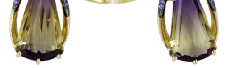 Золотые серьги и кольцо с аметрином