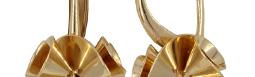 Золотые серьги с белым родированием