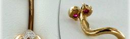 Золотой пирсинг с камнями в интернет магазине Москвы